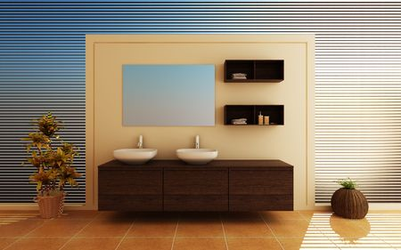 Modern interior of a bathroom photo