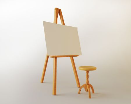 Easel on a white background Stock Photo