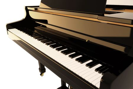 piano de cola: El piano negro  Foto de archivo