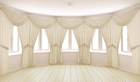 Classical interior with curtains photo