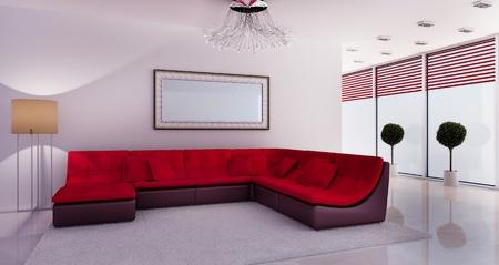 Modern interior of a room. 3D effect