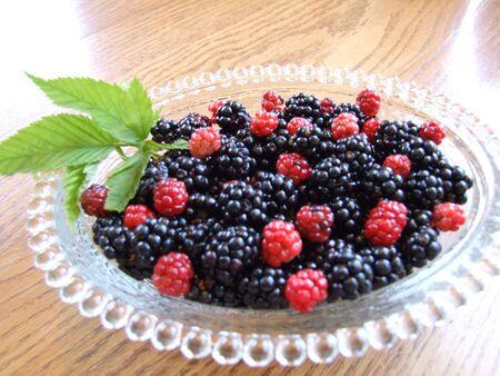 berries, bowl of fresh berries Stock Photo