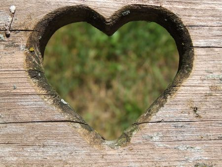 heart carved in wood Stock Photo