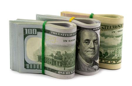 Group of bundle dollar bills isolated on white background photo