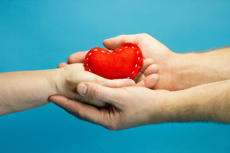 Caregiver concept. Red heart in woman and man hands on blue background