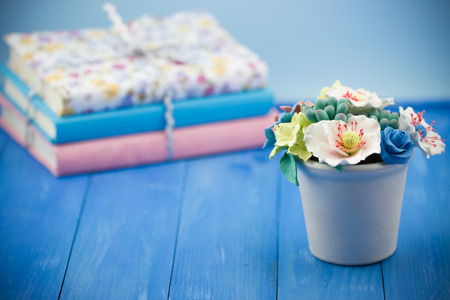 Valentines Day concept. Bundle of books with pot of artificial flowers on wooden vintage blue background