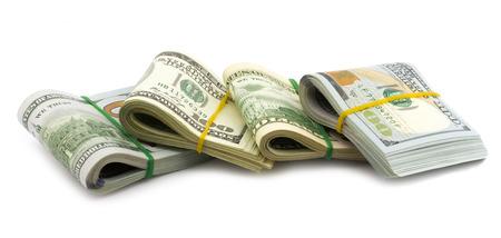cash money: Grupo de los proyectos de ley de paquete de dólar aislados sobre fondo blanco