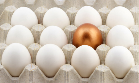 multiple personality: Golden egg arranged in the middle of white eggs in the carton tray
