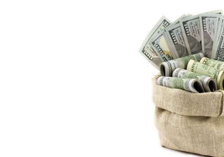 dollaro: Soldi nel sacchetto isolato su uno sfondo bianco con posto per il testo Archivio Fotografico