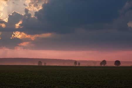 lowlands: Pink sunrise in the lowlands. Stock Photo