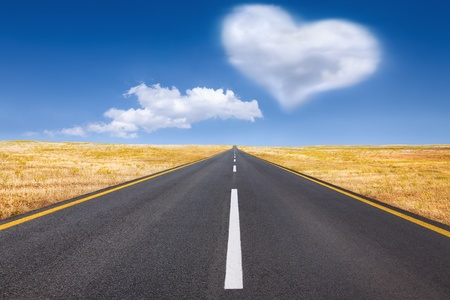 Love written in the sky with copy space photo