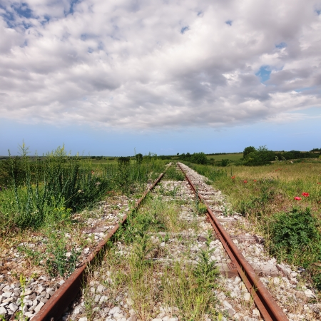 railway track: Abandoned railway tracks in a rural area Stock Photo