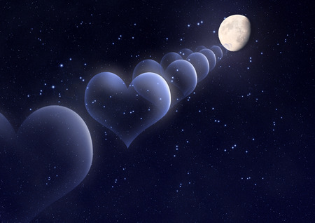 Bubbles in the shape of a heart against the moon in space Imagens