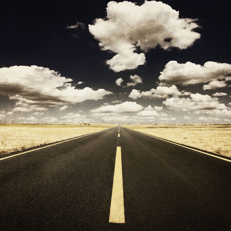 desert highway: Vintage photo. Driving on an empty highway at nice sunny day