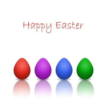 Four colorful easter eggs isolated on white with copy space photo