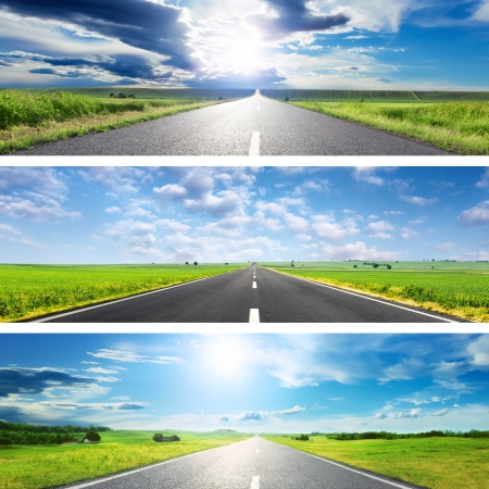 bright future: Set of the three green-blue roads for banners