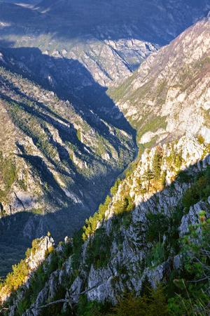 hill of tara: Deep river canyon of river Tara before sunset. National Park Durmitor - Montenegro Stock Photo