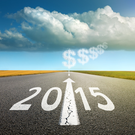 upcoming: Driving on an empty asphalt road  forward to upcoming new year Stock Photo