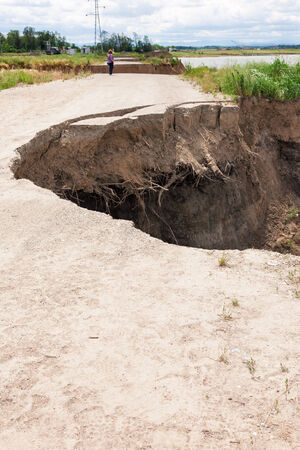 catastrophic: Consequences of catastrophic flood on the roads - Serbia, Balkan Stock Photo