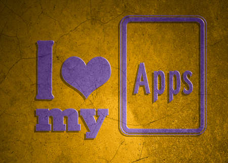 Love symbol and icon for application on old wall background photo