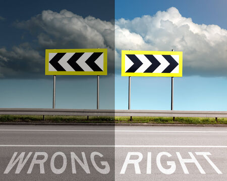 easy way: Concept on the road, a decision of wrong or right direction