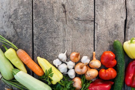 vegetables white background: Fresh vegetables on vintage wooden background with copy-space Stock Photo