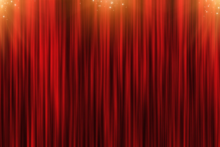 red cloth: Christmas background with red curtain and golden stars
