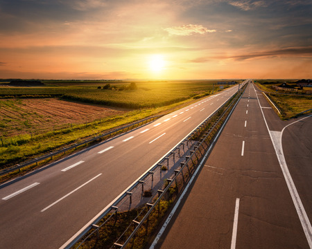 Open highway at sunset, near Belgrade in Serbia