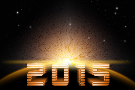 Concept.Forward to 2015 new year in space