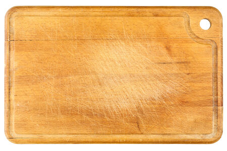 chopping: Old, wooden chopping board isolated on white background  Stock Photo