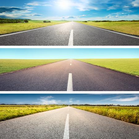 도로 콜라주 개념입니다. 화창한 날에 빈 아스팔트 도로에서 운전 스톡 콘텐츠