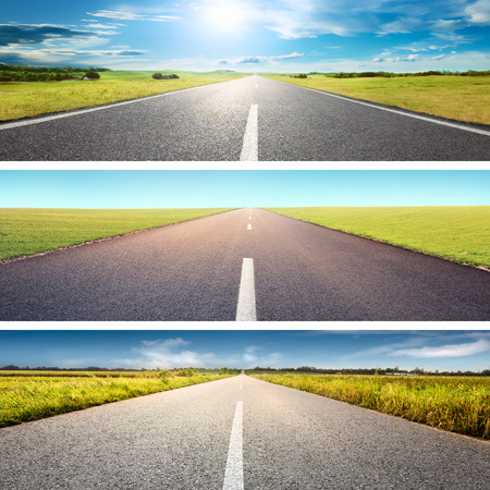 curve road: Road collage concept. Driving on an empty asphalt road at sunny day
