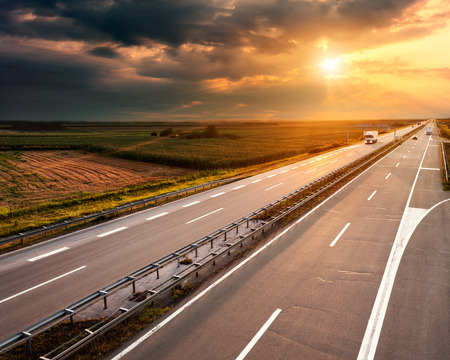 Open highway at sunset, near Belgrade in Serbia photo