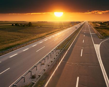 Open highway at sunset, near Belgrade in Serbia
