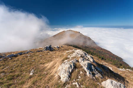 inversion: Mountain landscape - Example of meteorological phenomenon known as inversion temperature or pressure