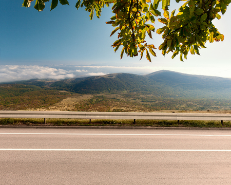 Side view of empty asphalt road with chestnut branch in foreground and cloudy mountains in background at idyllic day. Banco de Imagens