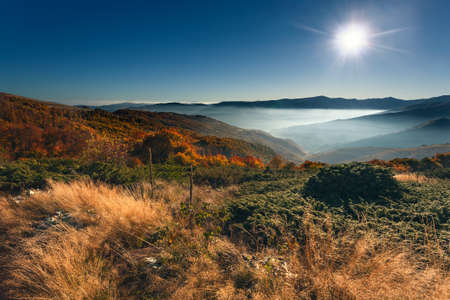 vastness: Sunrise misty mountain view in a colorful autumn ambience. Autumn mountain landscape in back light. Stock Photo