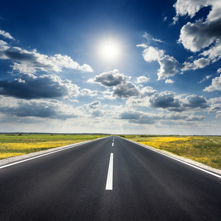 road vehicle: Driving on an empty asphalt road through the agricultural fields at idyllic sunny day towards the sun.