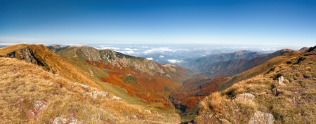 serbia landscape: Autumn mountain landscape and clear blue sky, panorama from the top of the old mountain 2169 m which represents a natural border between Bulgaria and Serbia.