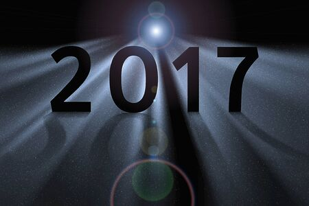upcoming: Concept illustration for upcoming 2017 new year. Space dust illuminated by star light in motion.