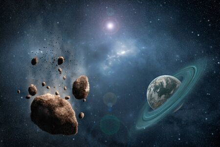 somewhere: Asteroids path with green planet somewhere in deep space many thousand light years from Earth. High resolution scientific illustration created from scratch. Stock Photo