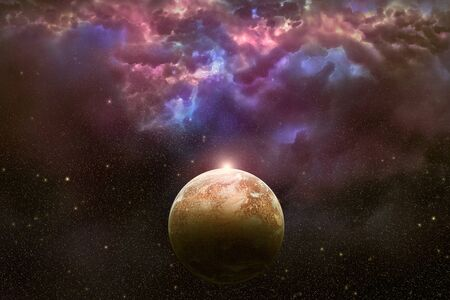 interstellar: View on illuminated red planet deep in outer space and beautiful nebula with stars in the sky. High resolution scientific illustration created from scratch. Stock Photo