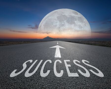 the passing of time: Driving on an empty imaginative road towards the big fantasy moon with sign success on asphalt as text. Concept for success and passing time.