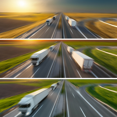 Commercial collage - banner - advertisment for the purposes of business success in the category of reliable transport and quick delivery in blurred motion technique shown through the seasons.