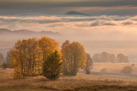 Idyllic autumn scenery on Durmitor mountain in Montenegro at beautiful sunrise and distant peak in background.