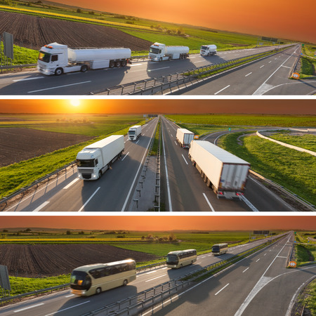 Commercial collage - banner - advertisment for the purposes of business success in the category of reliable fast transport and secure travel in blurred motion. Stock Photo
