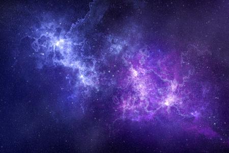 Ruimte achtergrond diep in de melkweg met mooie nevel en sterren in de lucht. Wetenschappelijke illustratie als achtergrond. Stockfoto