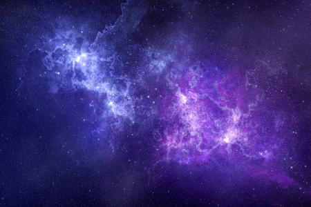 Space background deep in galaxy with beautiful nebula and stars in the sky. Scientific illustration as backdrop. Stock Photo