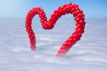 Beautiful red heart shaped balloons above the clouds. Valentines day concept. Stock Photo