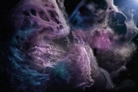 View on illuminated beautiful nebula in outer space with stars in the sky. High resolution scientific illustration.